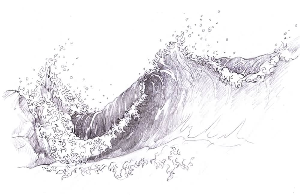 Japanese Waves Tattoo Sketch