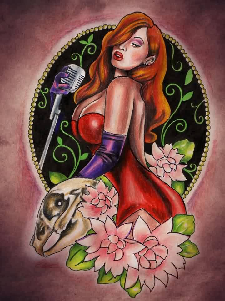 Jessica Rabbit And Rose Tattoos Print