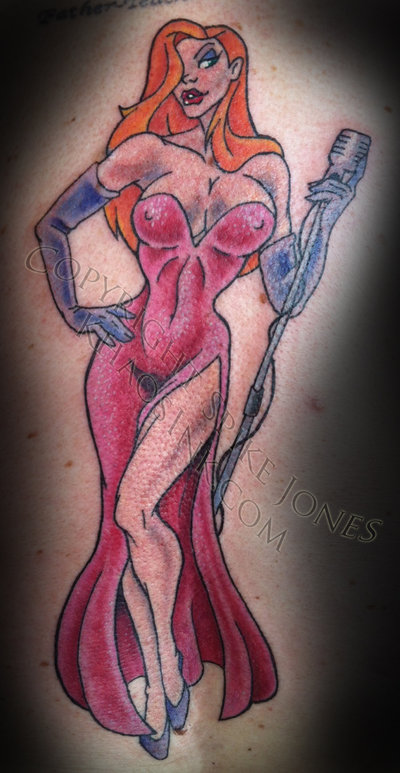 Jessica Rabbit With Mic Tattoo