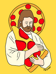 Jesus With Pizza Tattoo Print