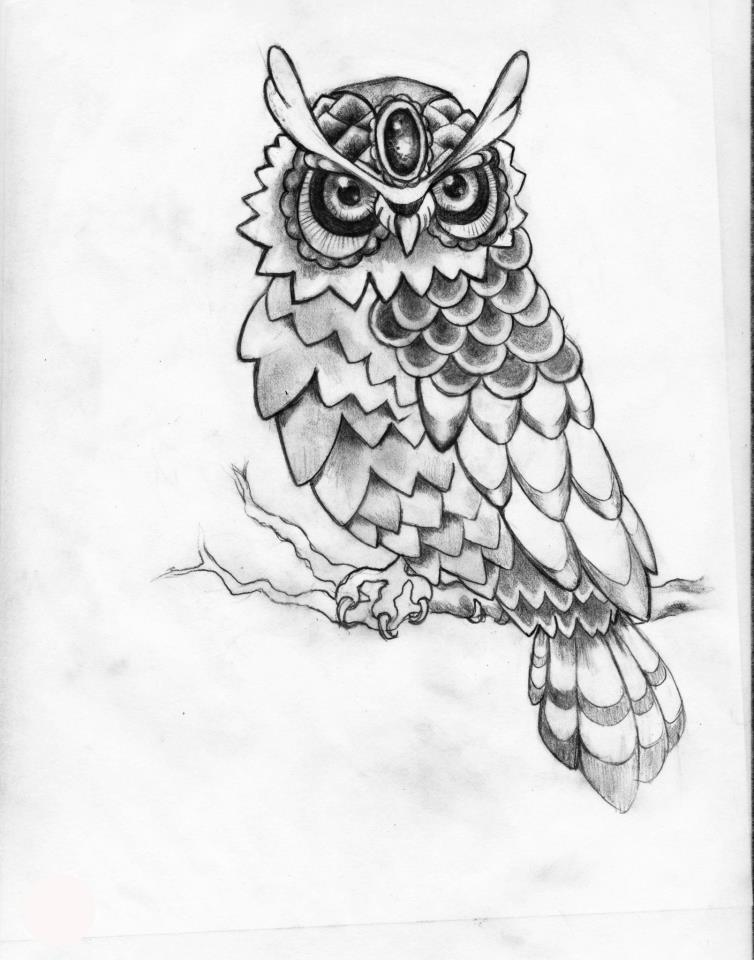 Jewel Forehead Owl Tattoo Drawing