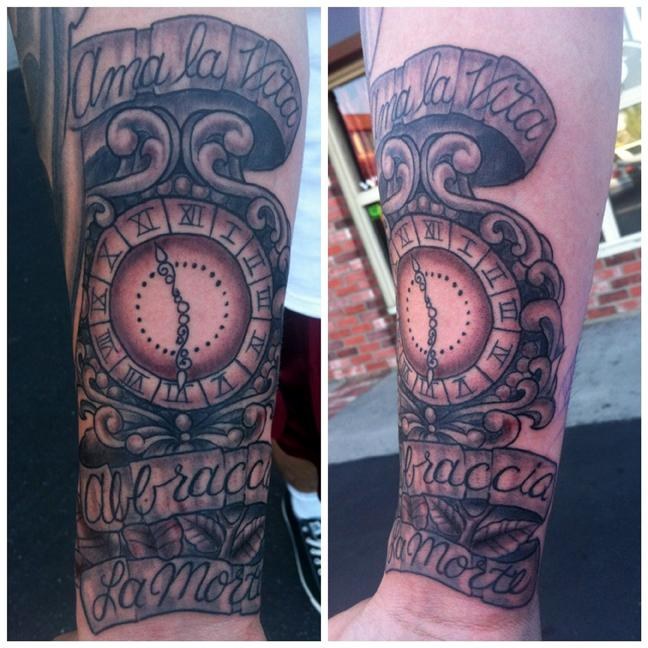 Joe Clock Forearm Tattoos