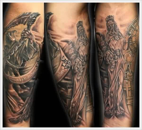 Judge Clock Reaper Grey Ink Tattoos