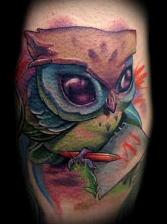 Kelly Dotty Owl Tattoo