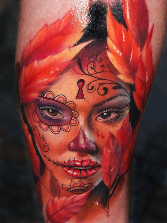 Key Hole Forehead Dia De Los Muertos Face 3D Tattoo