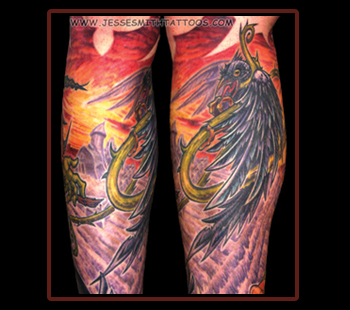 Kil Crow Tattoo On Sleeve