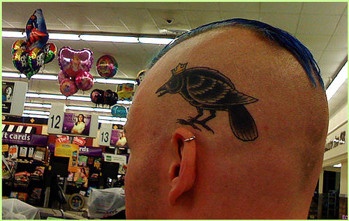 King Crow Tattoo On Head