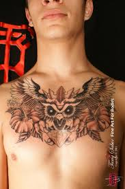 King Owl With Flower Tattoos On Chest