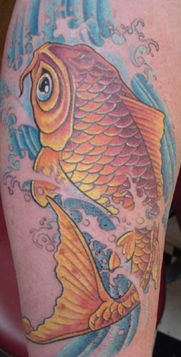 Koi And Blue Waves Lovely Tattoo