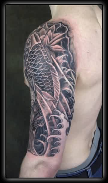 Koi And Waves Tattoos On Half Sleeve