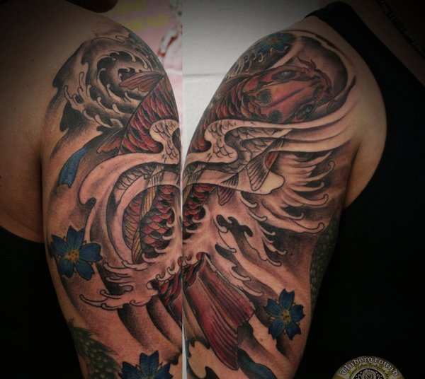 Koi Asian Waves Half Sleeve Tattoos