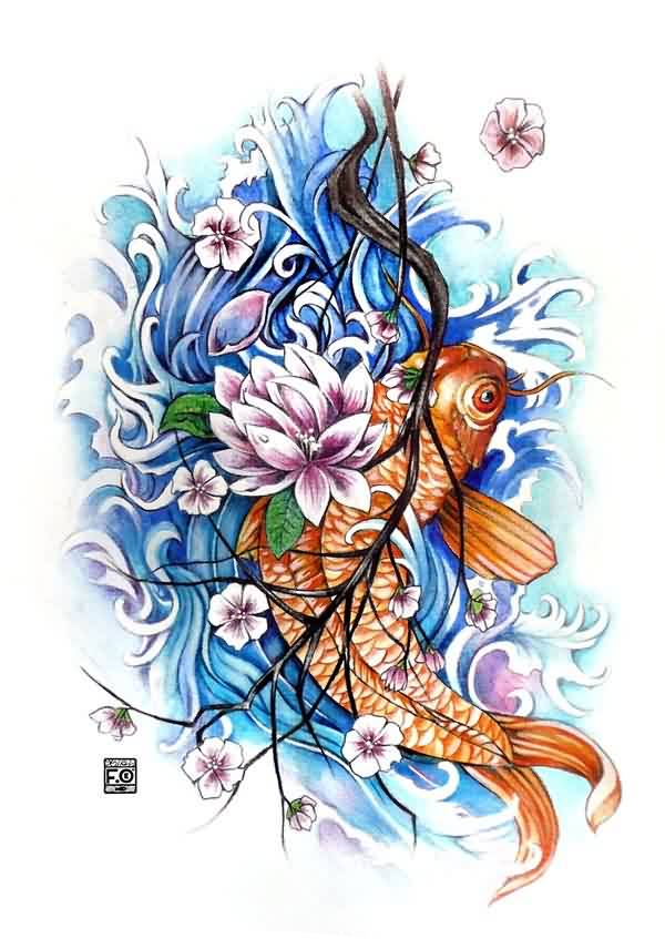 Koi Blossoms And Waves Tattoos Design