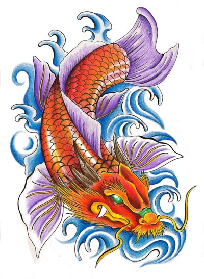 Koi Dragon And Blue Waves Tattoo Design