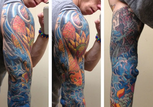 Koi Fish And Ocean Waves Sleeve Tattoos For Guys