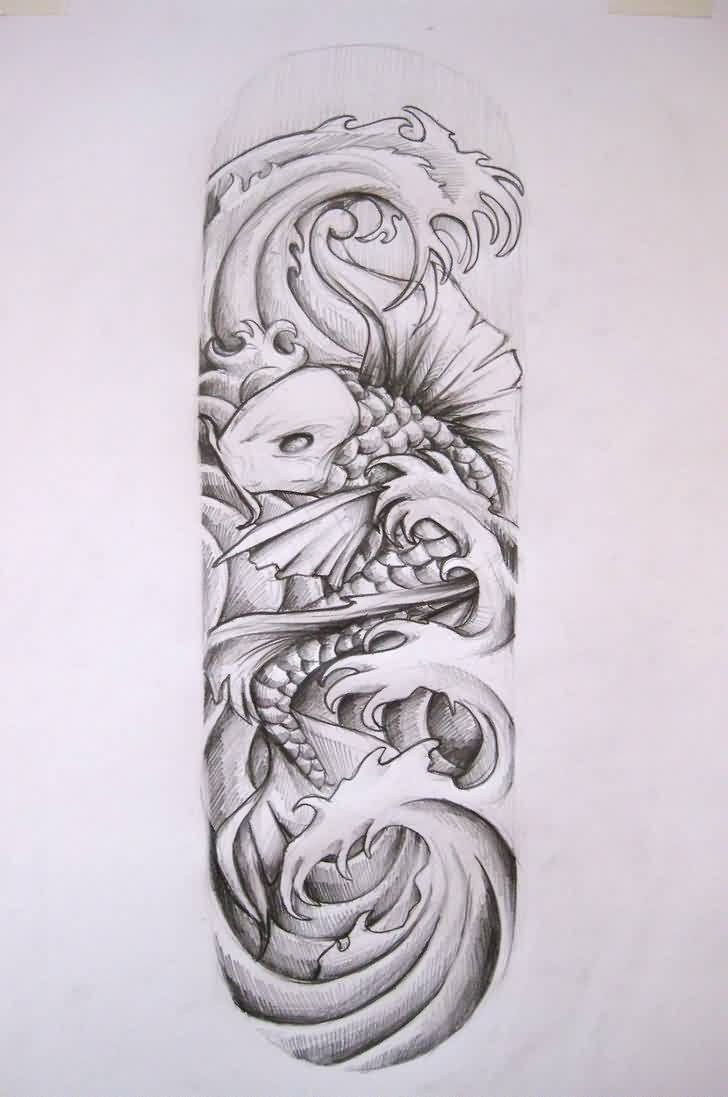 Koi Fish And Waves Sleeve Tattoos Sketch