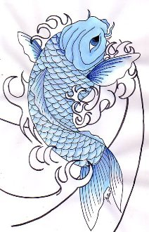 Koi Fish And Waves Tattoo Design