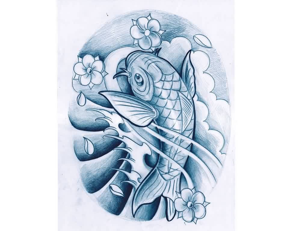 Koi Fish In Blue Waves Tattoo Design