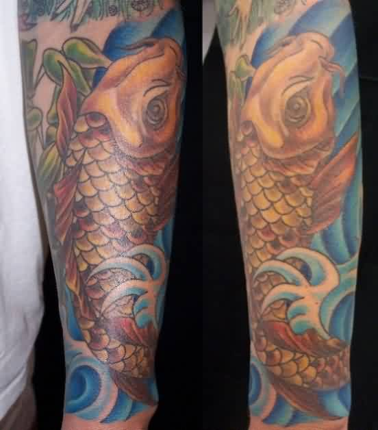 Koi Fish In Wave Leg Sleeve Tattoos