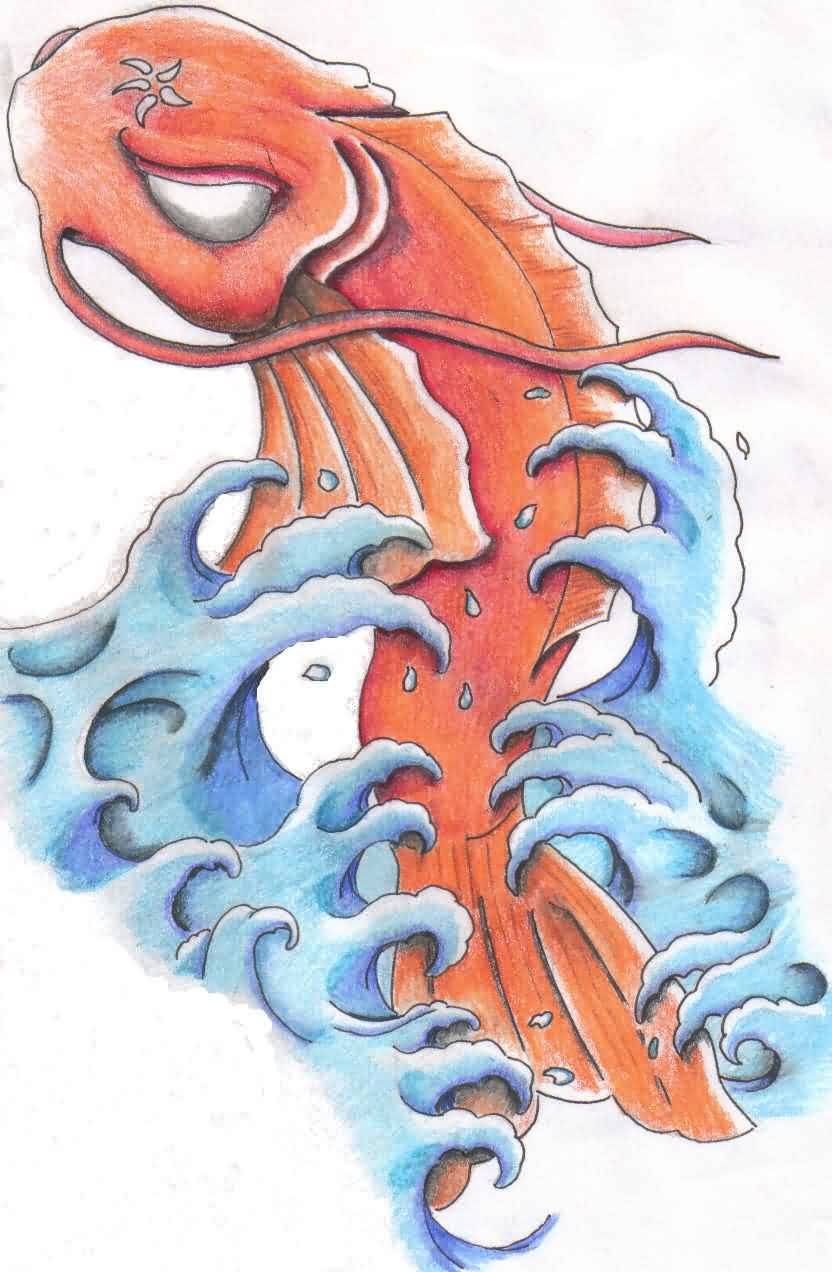 Koi Fish With Waves Tattoo Idea