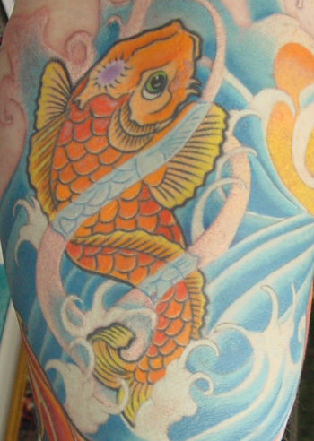 Koi Swimming In Waves Tattoos