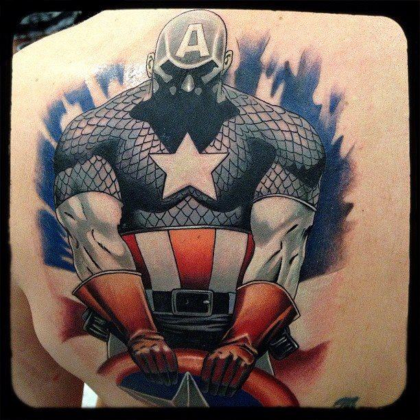 Large 3D Captain America Shield Tattoo On The Back