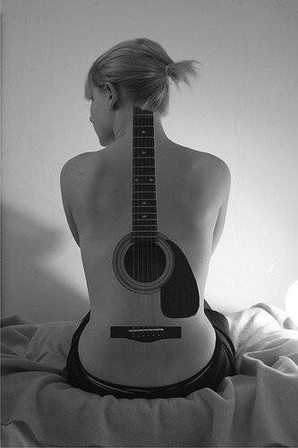 Large 3D Guitar Tattoo On Sexy Back