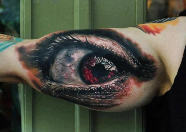 Large 3D Open Eye Tattoo