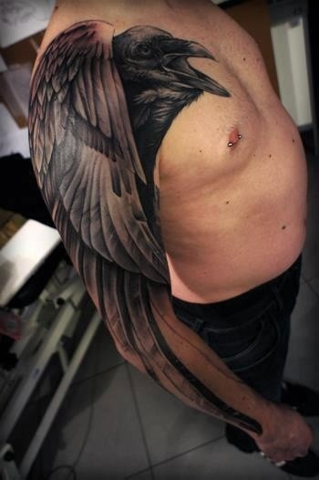 Large Black 3D Crow Tattoo On Sleeve