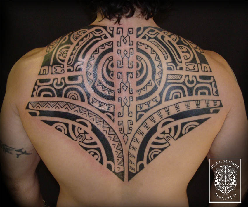 Large Black Polynesian Tattoo On Back For Men