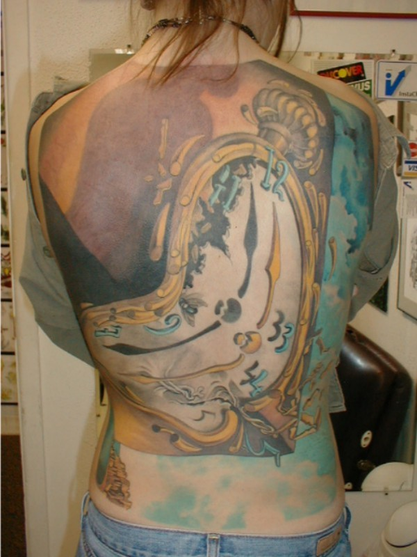 Large Broken Dali Clock Tattoo On Entire Back