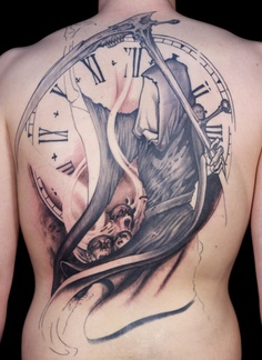 Large Clock And Grim Reaper Tattoos On Backbody
