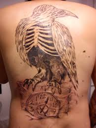 Large Crow Skeleton On Clock Tattoo