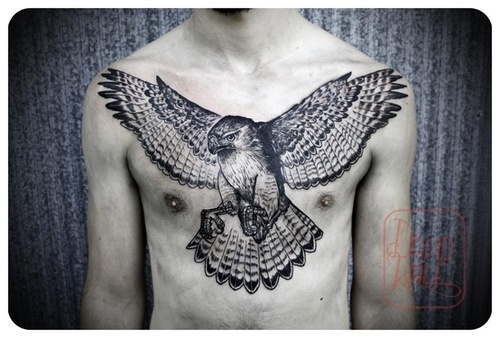 Large Flying Owl Tattoo On Chest