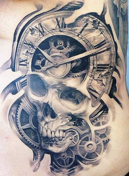 Large Gears Clock With Skull Tattoo