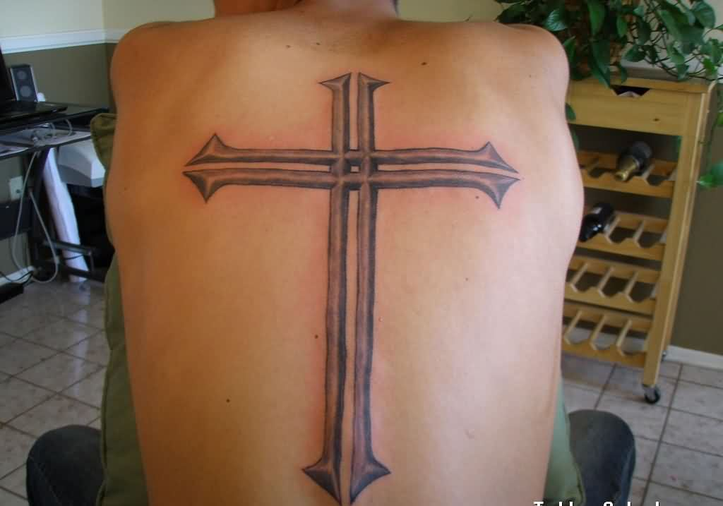 Large Grey 3D Cross Tattoo On Backbody