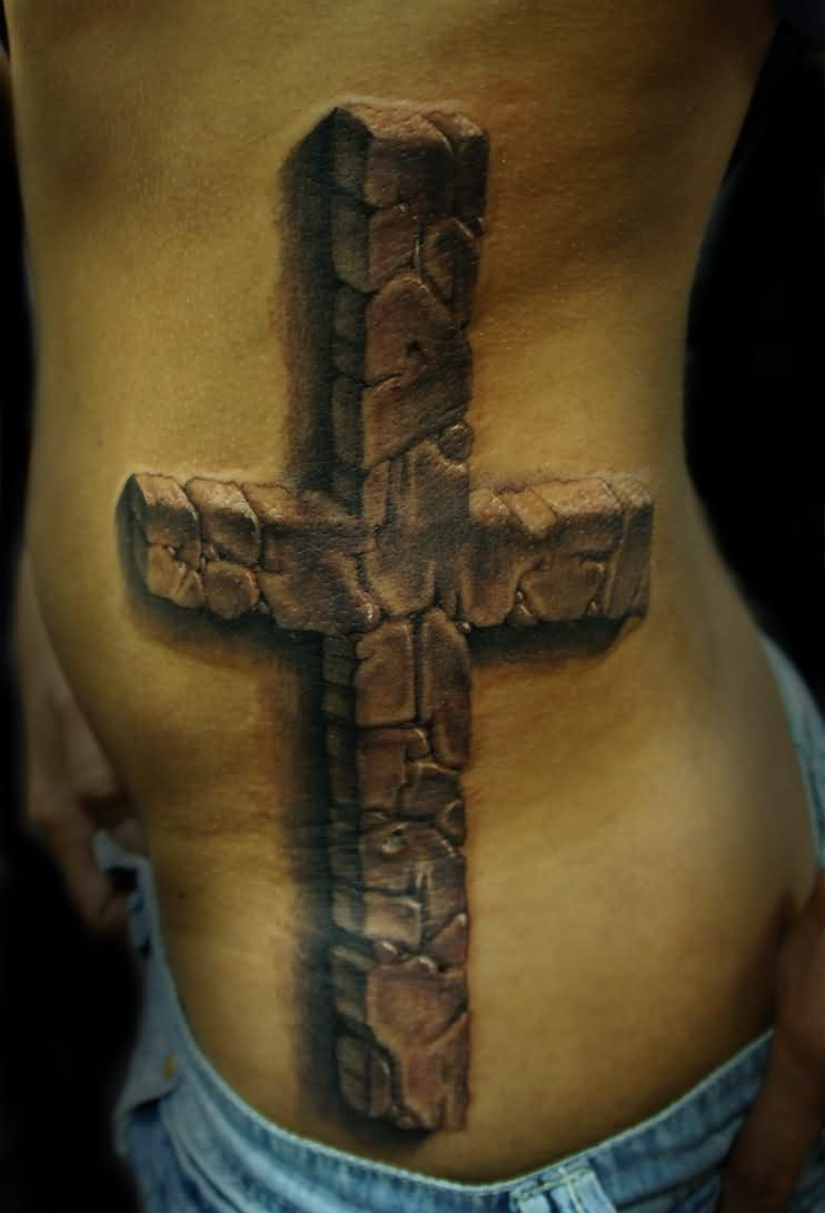 Large Grey 3D Stone Cross Tattoo On Ribs