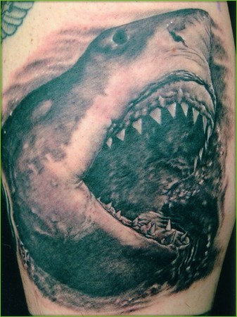 Large Open Mouth Shark Tattoo