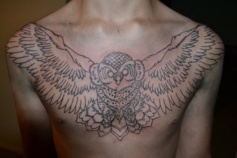 Large Open Wings Owl Outline Tattoo On Chest