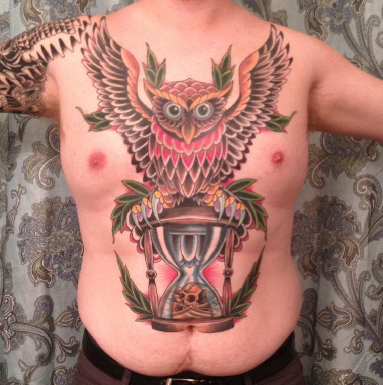 Large Owl On Sandclock Colorful Tattoo On Upper Body