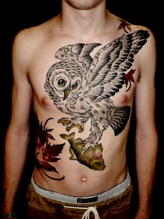 Large Owl With Fish Tattoo On Front For Guys