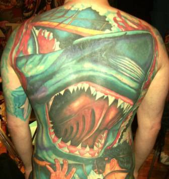 Large Shark Crawling Face Tattoo On Entire Back