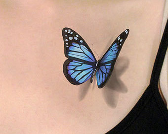 Latest 3D Blue Butterfly Tattoo