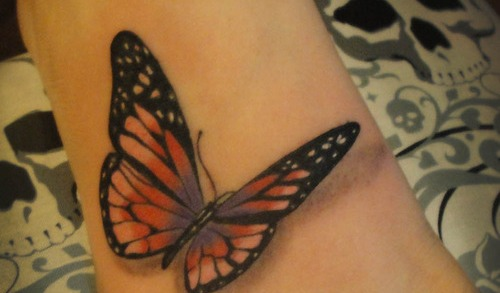 Latest 3D Butterfly Tattoo On Foot