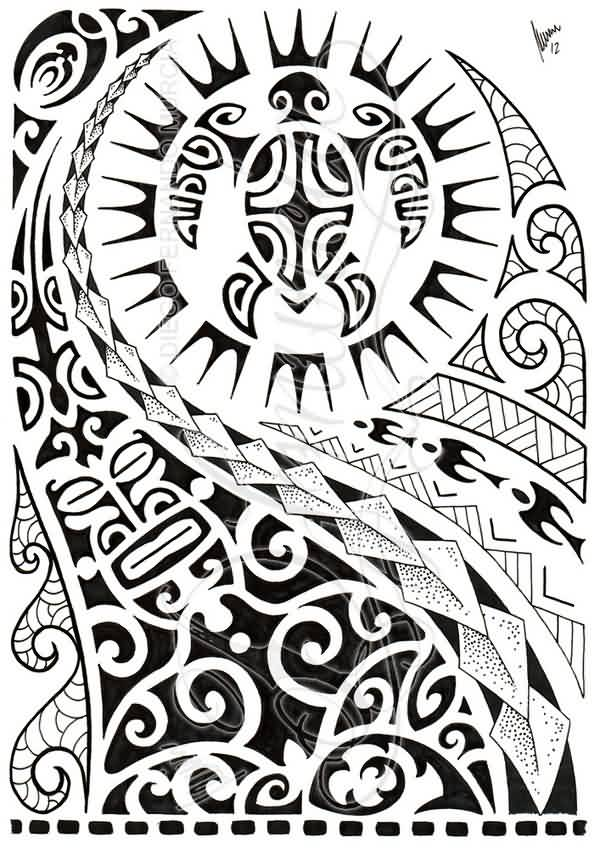 Latest Black Polynesian Half Sleeve Tattoo Design