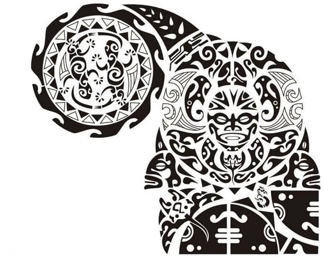 Latest Black Maori Polynesian Tattoos Stencil
