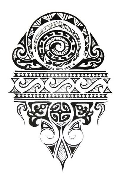 Latest Black Polynesian Tattoo Design For Shoulder