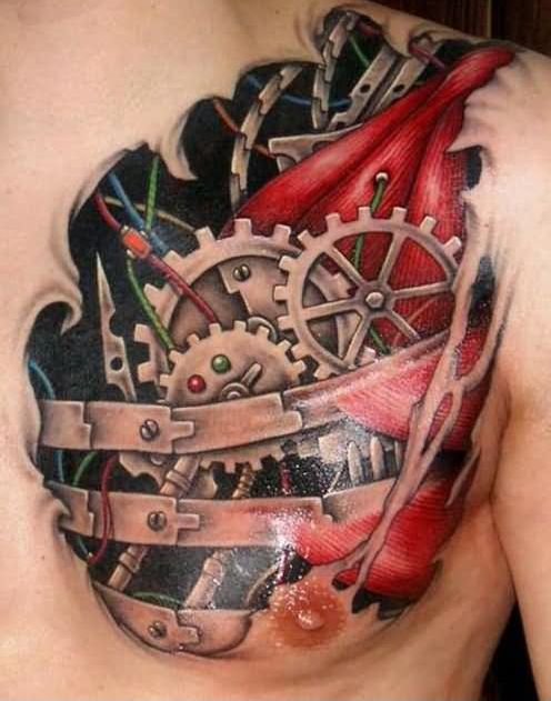 Latest Colorful 3D Ripped Skin Biomechanical Tattoo On Chest