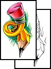 Latest Colorful Pencil Tattoo Design