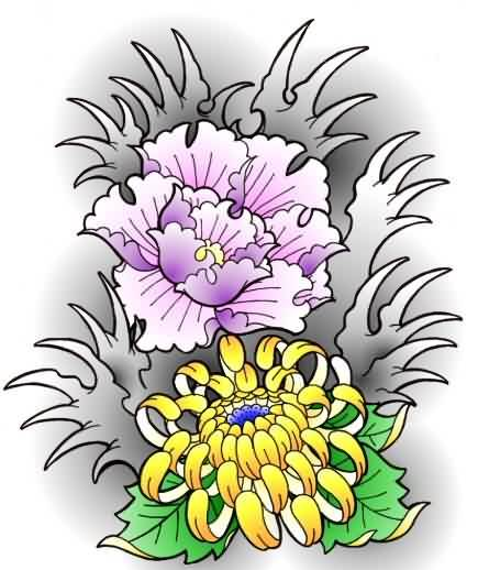 Latest Grey Waves And Flowers Tattoos Flash