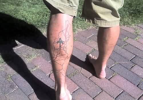 Left Back Leg Map Tattoo